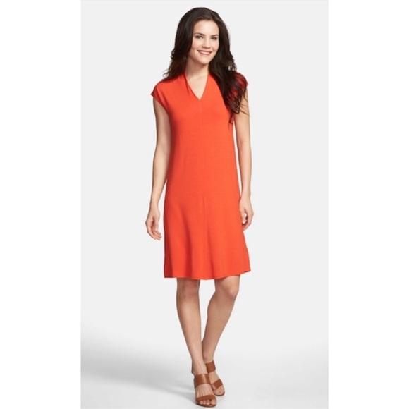 NWT Eileen Fisher Drapey V Neck Jersey Dress Sz M d561034ed